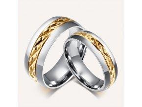 Prstene pre páry s diamantovým rezom - 2ks