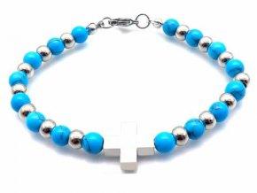 Náramok s modrými guličkami a krížikom